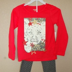 NWT Toughskins Meow Cat Stars Outfit Size 4